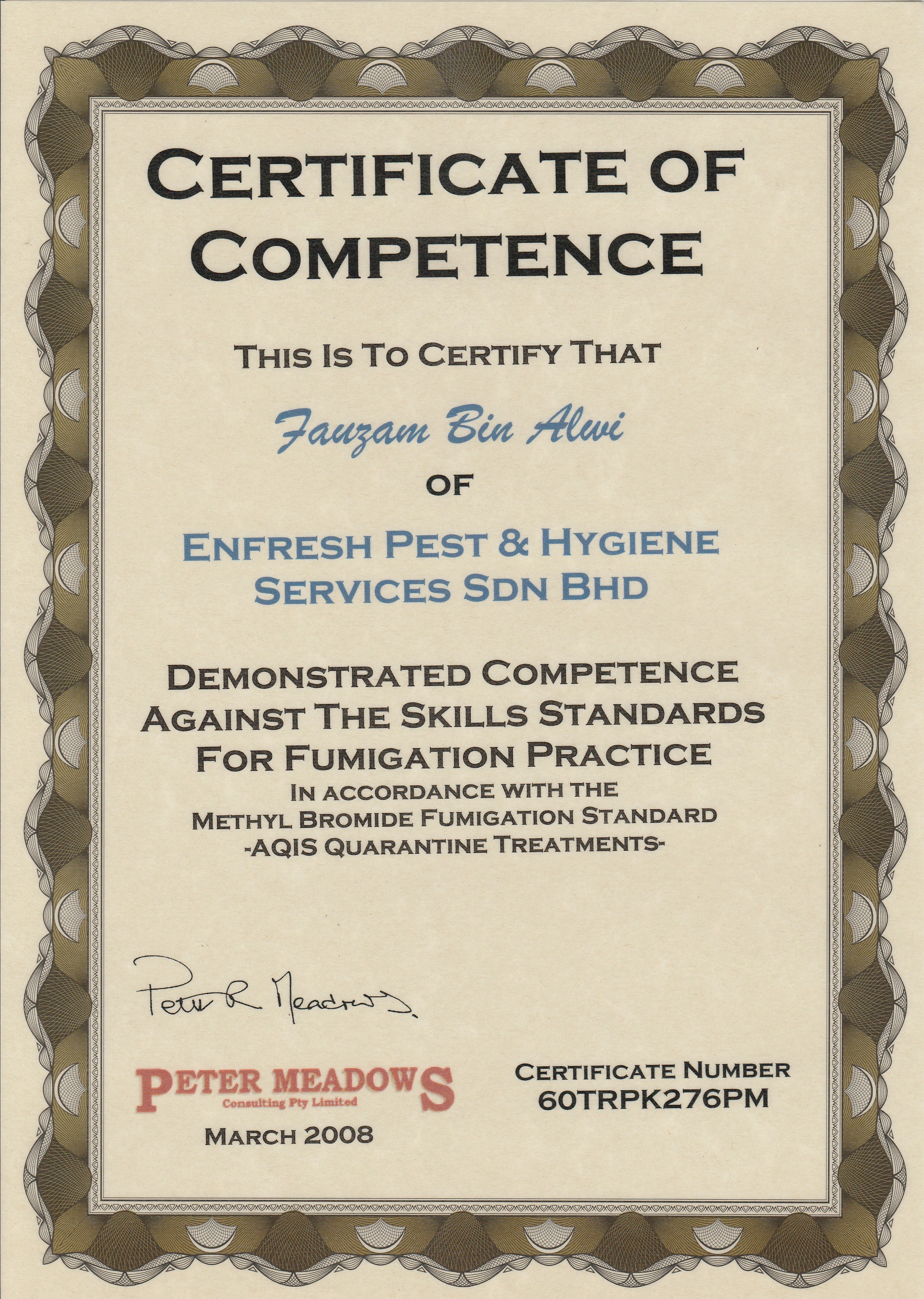 Certificate award enfresh pest hygiene services pest afas certificate of competence fzm 2008 xflitez Gallery