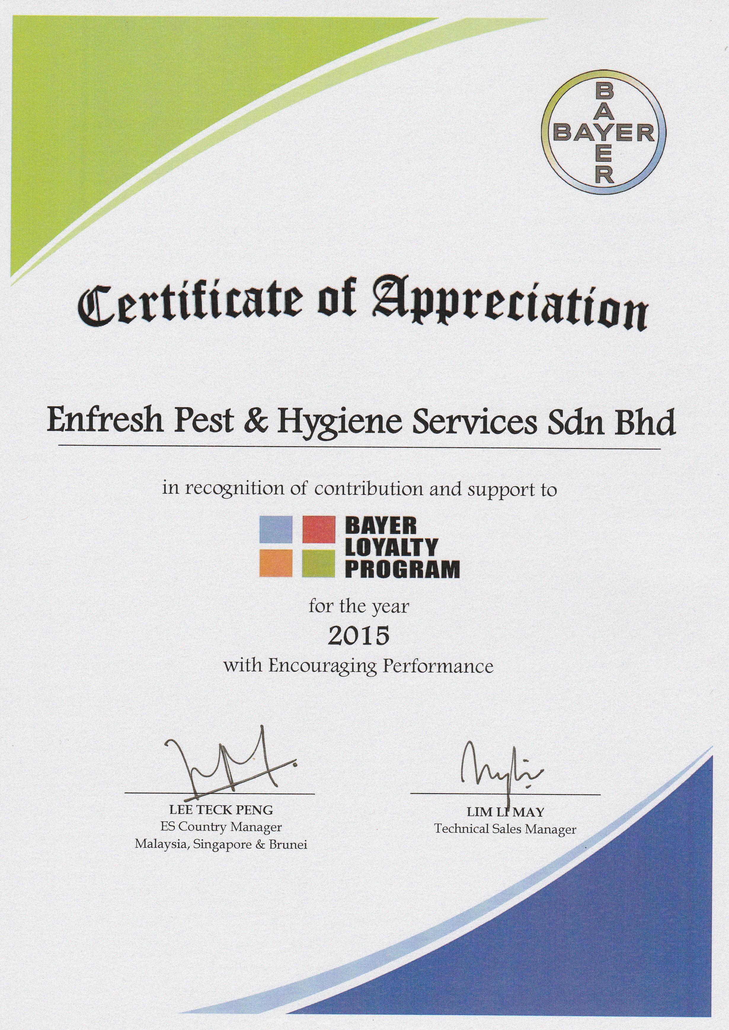 Certificate award enfresh pest hygiene services pest blp bayer certificate of appreciation yelopaper Gallery