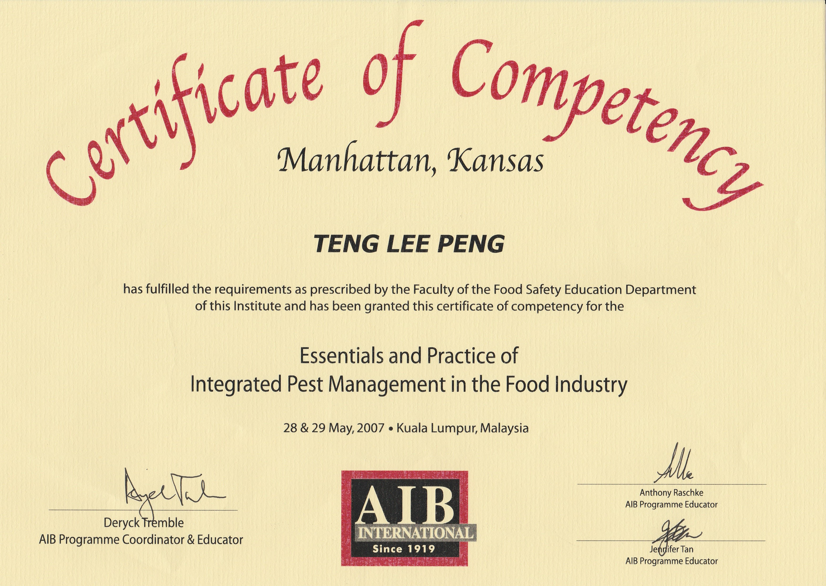 Certificate award enfresh pest hygiene services pest aib international certificate of competence tlp 2007 xflitez Choice Image