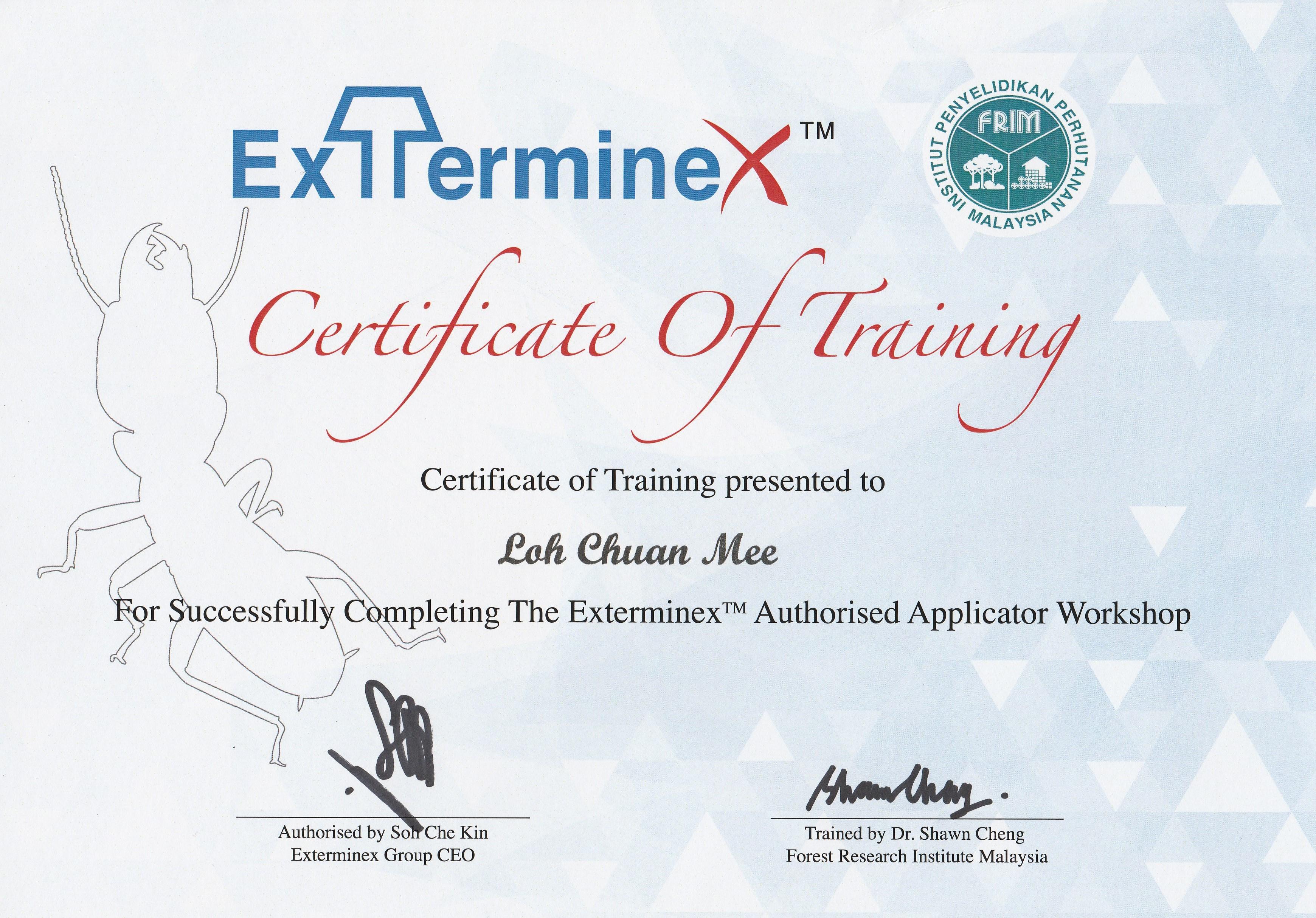 Certificate award enfresh pest hygiene services pest exterminex exterminex certificate of training xflitez Choice Image